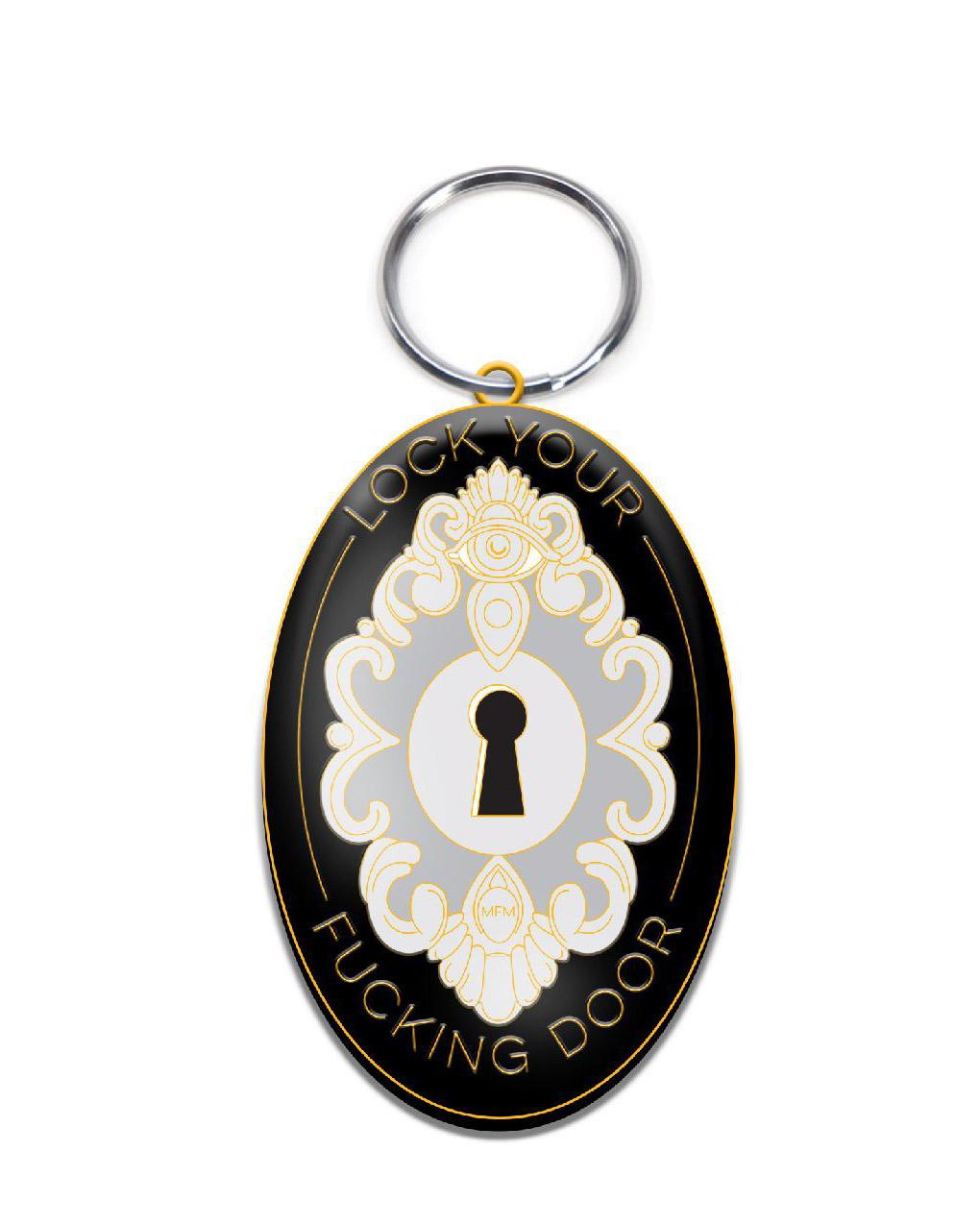 Lock Your Door Keyhole Keychain